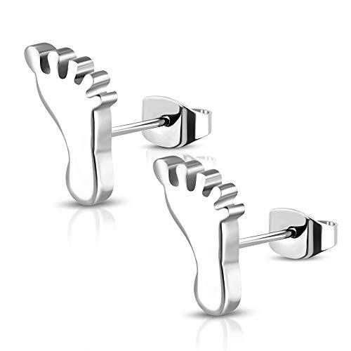 BlackAmazement Juego de 2 pendientes de acero inoxidable 316L, diseño de pies de bebé, color plateado, para hombre y mujer