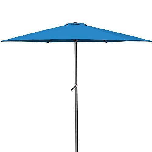 Kingsleeve Kurbelsonnenschirm Aluminium Ø300cm mit Kurbel + Dachhaube mit Neigevorrichtung blau - Sonnenschirm Marktschirm Gartenschirm