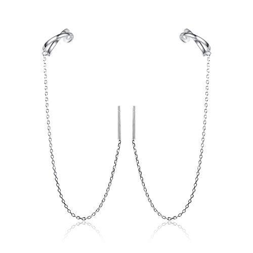 Fallen Hängend - Ohrringe 925 Sterling Silber Ear Cuff Ohrclips ohrklemme Ohrringe Hypoallergen für frauen mädchen