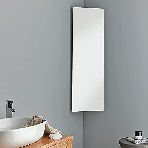 Extra Tall Corner Mirror Bathroom Cabinet 120cm Tall x 38cm Wide - Great Storage Solution - Reims Cabinet from Clickbasin