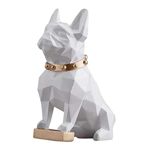 FLAMEER French Bulldog Decor Dog Sculptures Abstract Animal Figurines Geometric Surface Puppy Statues Gift Present for Home Office Desktop Decor - White Small