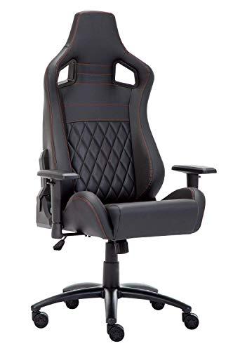 Chaise de Gamer, Siège de Gaming inclinable, Fauteuil de Bureau en Similicuir (Noir)
