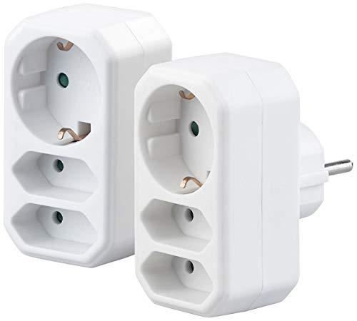 revolt Doppelstecker: 2er-Set Dreifach-Steckdosen mit integrierten Kindersicherungen, 230 V (Stecker mit integrierter Steckdose)