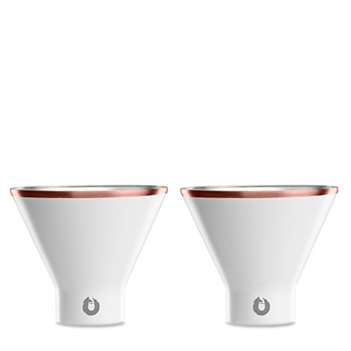Snowfox Insulated Stainless Steel Margarita and Martini Cocktail Glass, Set of 2, White/Gold