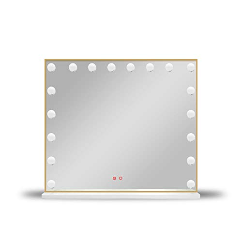 WCCJFB Miroir de courtoisie éclairé avec Ampoules LED intensité - Miroir de Maquillage Tactile avec éclairage LED Tricolore réglable