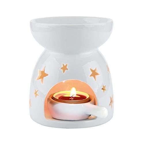 ComSaf Duftlampe Teelicht mit Teelichthalter, Keramik Wachs Aromalampe Duftöl Kerzenhalter Weiß Sternchenmuster