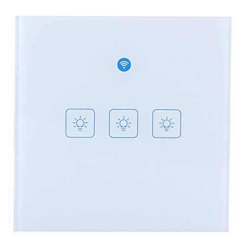 PUSOKEI Interruptor táctil de Pared Inteligente WiFi, Interruptor de Control de Voz Inteligente, Interruptor de Control Remoto de aplicación móvil(EU-3 Way)