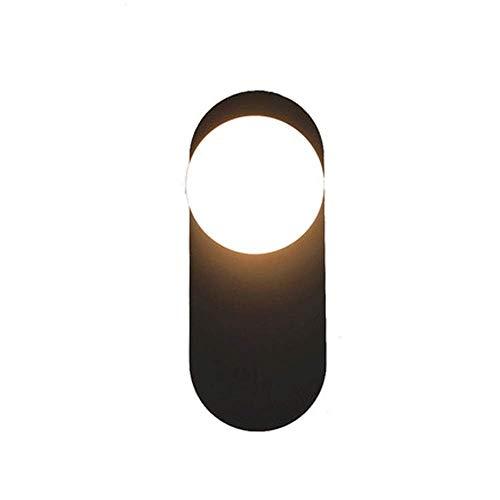 JPL Lámparas novedosas, aplique de pared nórdico Siet, lámpara de pared de metal geométrico con pantalla de globo de vidrio blanco, lámpara de pared moderna de...