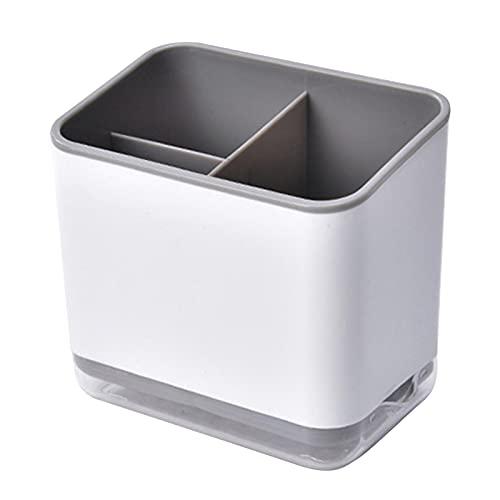 Greyoe Escurridor de Cubiertos, Porta Utensilios de Cocina, Estante para Cubiertos Multifuncional de Almacenamiento de 3 Compartimentos para Escurrir Cubiertos (Gris)