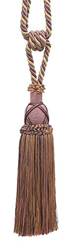 Beautiful Dusty Rose, Dark Blue, and Light Olive Curtain & Drapery Tassel Tieback / 25cm tassel, 77cm Spread (embrace), 10mm Cord, Imperial II Collection Style# TBIC-1 Color: OLIVE ROSE - 1010