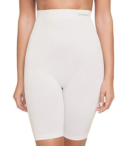 Faja pantalón Reductora sin Costuras, con diseño Frontal Brocado. Tejido Fuerte, Suave y elástico. (Blanco, M/L)