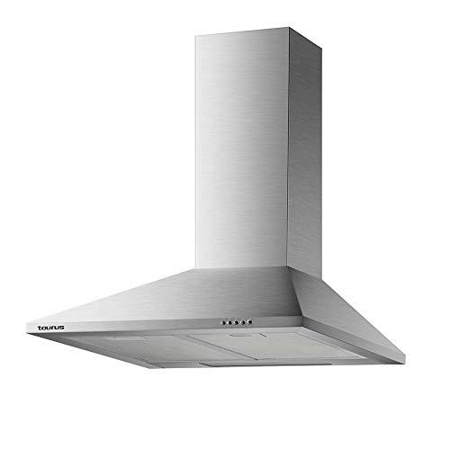Taurus Scala 60 Inox - Campana extractora decorativa de 60 cm de 350 m3/h, 3 niveles de extracción, apta para cocinas sin salida de aire, 2 filtros de aluminio 5 capas, acero inoxidable, color plata