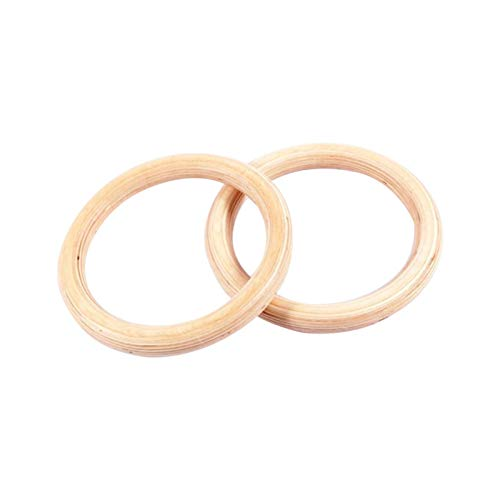 Lamptti 2Pcs Wooden Gymnastic Rings(Without Lifting Rope) - 28mm Home Fitness Ring Pro Olympic Gym Ring for Strength Suspension Crossfit Training with Adjustable Buckles Straps