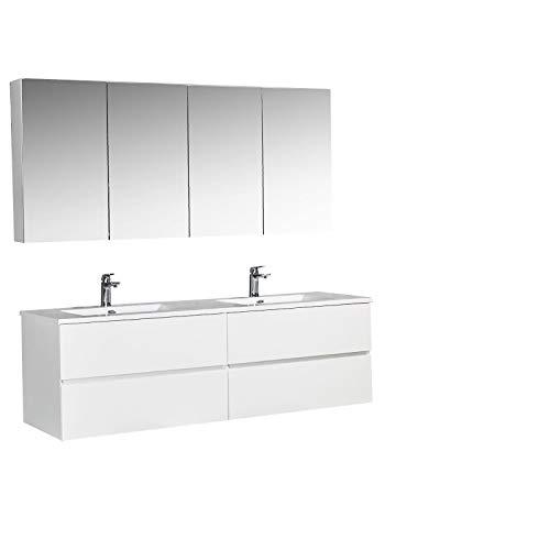 Badmöbel-Set EDGE 1700 - Farbe wählbar - Farbe Badmöbel:Weiß glänzend, Waschbecken-Farbe:Weiß glänzend, Mit 2x Spiegelschrank EDGE