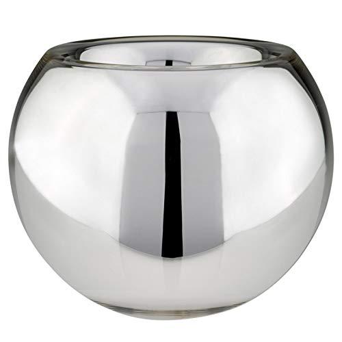 große Silberglas Bauernsilber Deko Blumen-Vase Ø 25 cm - feinste Handarbeit - auch als Übertopf verwendbar