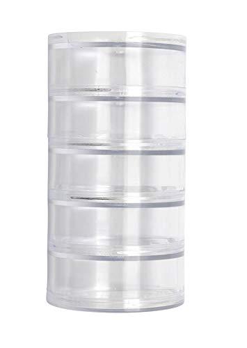 Glorex 5 2001 46 opbergdoos, sorteerdoos met 5 ronde vakken, van transparant kunststof, elk ca. 7 x 3 cm groot.