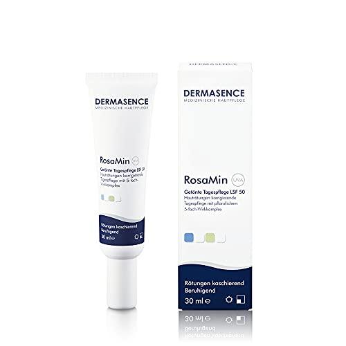 Dermasence RosaMin Getönte Tagespflege LSF 50 - Rötungen korrigierende Tagespflege mit LSF 50 für Couperose und zu Rosacea neigende Haut - 30 ml