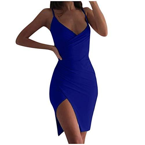 Damen Minikleid Luotuo Frauen Sexy Spaghettiträger V-Ausschnitt Bodycon Kleid Camisole Kleid Wickelkleid Ärmellos Rückenfrei Partykleid Cocktailkleid Bleistiftkleid