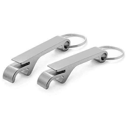 Ganzoo Flaschen-Öffner aus Aluminium für Schlüssel-Anhänger, 2er Set, Lackierung Silber metallic