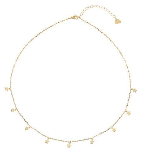 Happiness Boutique Damas Collar de Estrella en Color Oro | Collar Delicado con Colgantes Multi Estrella Joyería de Acero Inoxidable