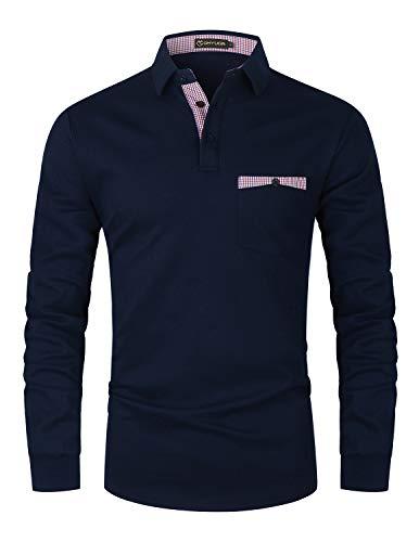GHYUGR Polo Hombre Manga Larga Elegante Cuello a Cuadros Camiseta con Bolsillo Poloshirt Otoño Golf T-Shirt Trabajo Camisa,Azul,L