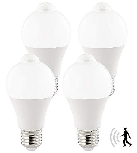 Luminea Ledlampe: 4er-Set LED-Lampen, PIR-Sensor, 12 Watt, E27, tageslichtweiß, 6500 K (LED Glühbirne mit Bewegungsmelder)