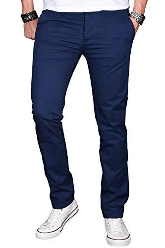 A. Salvarini Herren Designer Chino Stretch Stoff Hose Chinohose Regular Slim mit Elasthananteil AS024 [AS-024-Dunkelblau-W40 L32]