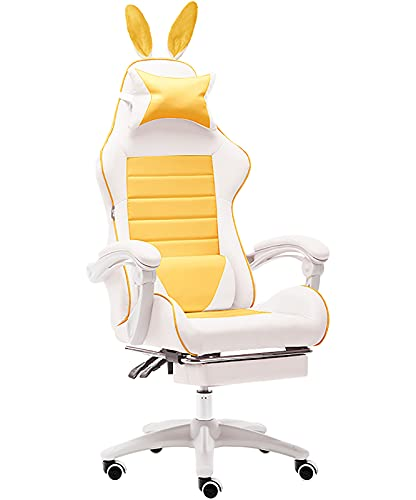 GPAIHOMRY Silla ergonómica para videojuegos de PC, silla para juegos de computadora con reposapiés, silla reclinable para oficina en casa, respaldo alto, estilo de carreras, silla para juegos E-Sports