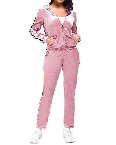 Mintilimit - Traje de entrenamiento para mujer, terciopelo, 2 unidades, con cremallera, con capucha, de terciopelo, largo Rosa L