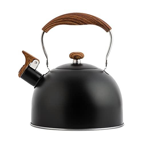 Flötenkessel Induktion 2.5L Wasserkocher Edelstahl, mit Hitzebeständigem Holzgriff, für Induktionsherd Gasherd Holzöfen Gas Camping