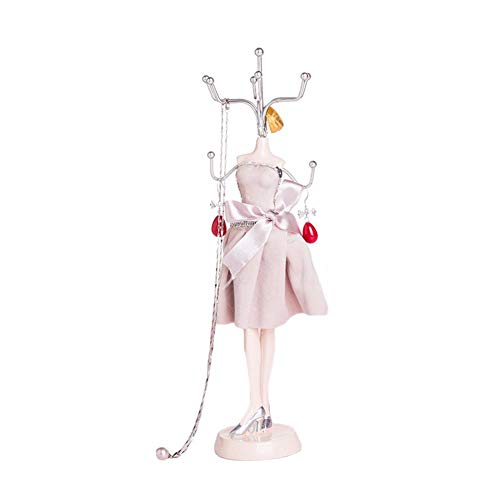 N/A UMTGE Sieraden Display Stand Prinses Mannequin Sieraden Organisator Hangende Houder Display Stand, Pale Pinkish Gray, 26 * 7.5cm