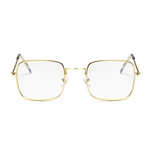 NXMRN Gafas De Sol Gafas De Sol Cuadradas Transparentes Retro Mujer Hombre Gafas De Sol Para Mujer Gafas De Sol Pequeñas De Hip Hop-Oro claro