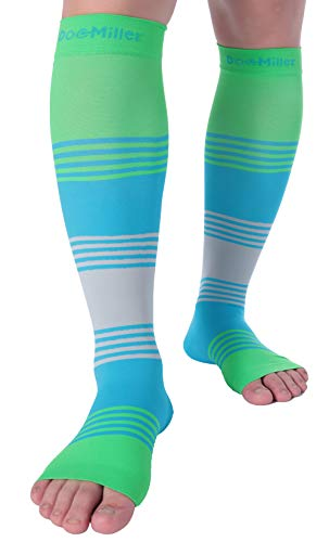 Doc Miller Premium Calf Compression Sleeve Dress Series 1 Pair 20-30mmHg Strong Calf Support Cute Toeless Socks Running Recovery Shin Splints Varicose Veins XL 2XL (Open Toe GreenBlueGray, Medium)