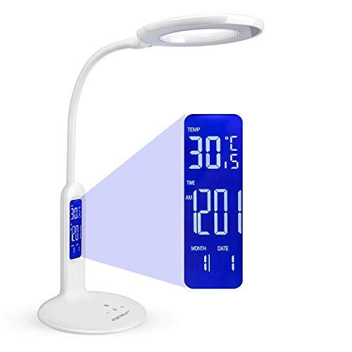 Aigostar Flexo 10KZP - Lámpara de escritorio LED 7W, Pantalla LCD con calendario, temperatura, alarma. táctil, 360lm. 5 Niveles de intensidad, 2 modos de iluminación luz blanca y cálida. Color blanco