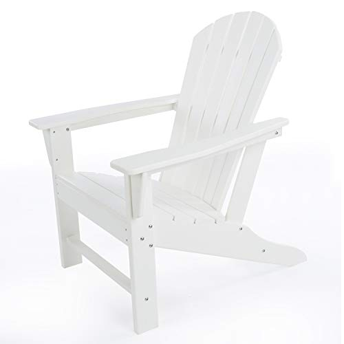 DAILYLIFE HDPE Plastic/Resin Classic Outdoor Adirondack Chair for Patio Deck GardenBackyard amp Lawn FurnitureWhite White