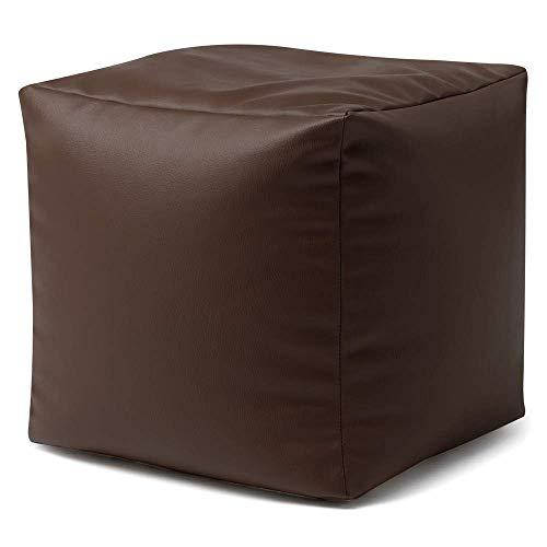 Bean Bag Bazaar Cubo Puf de Piel Sintético - Escabel - 38cm x 38cm, Puff Reposapiés ✅