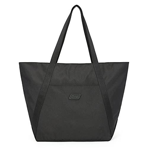 Skechers Bolsa de trabajo respetuosa con el medio ambiente, grande, reutilizable para mujer, bolso impermeable y ligero con cremallera, para la escuela, compras, trabajo, uso diario, viajes, negro