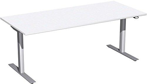 Elektrisch höhenverstellbarer Schreibtisch, 1800x800x680-1160, Weiß/Silber, Geramöbel