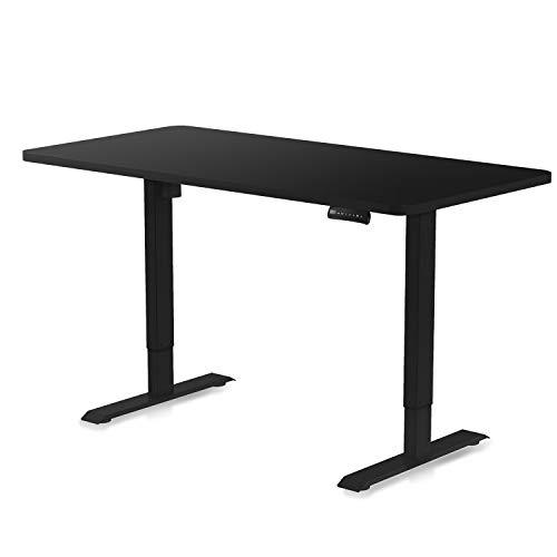 DESQUP® Elektrisch höhenverstellbarer Schreibtisch | +140x70 cm Tischplatte | 5 Jahre Garantie | Ergonomischer Steh-Sitz Tisch mit Memory Funktion | Beugt Rückenschmerzen vor (Schwarz, Schwarz)