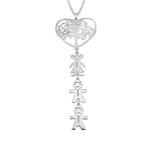 Collar familiar personalizado Collar con nombre Corazón Árbol genealógico y colgante para niños Collar con nombre grabado(Plata 16)