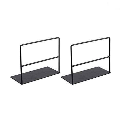 1 par de huellas de hierro forjado Soporte de libro Soporte de escritorio simple Oficina Magazine Organizador Soporte de estante del soporte (Color : Black)