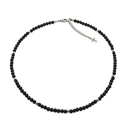 Collana uomo con perle di pietra lavica da 4 mm e perle acciaio