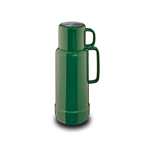 ROTPUNKT Isolierflasche 80 ANDREAS 1,0 l | Zweifunktions-Drehverschluss | BPA Frei - gesundes Trinken | Made in Germany | Warm + Kalthaltung | Glaseinsatz | shiny jade
