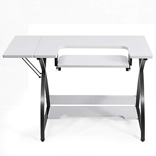 COSTWAY Tavolo da Cucito con Mensola Pieghevole, Tavolo Multiuso, Scrivania per Computer, Tavolo da Cucito con Struttura in Acciaio, 116,5 x 59,5 x 76 cm