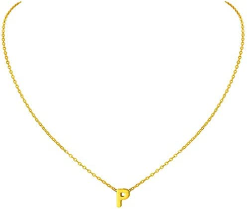 Tiny Initial Necklace, 18K Gold Plated Stainless Steel Initial Necklace Dainty Personalized Letter Necklace Minimalist Delicate Small Monogram Name Necklace for Women Girls