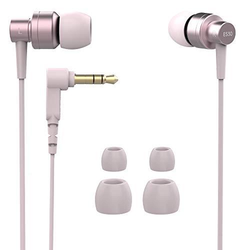 SoundMAGIC ES30 Bambini, auricolari da donna, cuffie intrauricolari cablate, isolamento del rumore, suono pilotato dai bassi, leggero, auricolari in metallo, borsa da trasporto, jack da 3,5 mm, Rosa