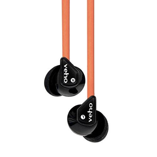 Veho - Auricolari isolanti con cavo antigroviglio flat flex, colore: Arancione