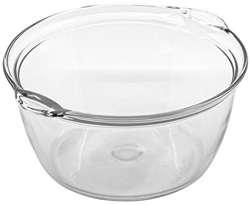 Red Co. Large Clear Glass Oven Safe Bowl with Side Handles, for Mixing, Storage, Serving, Cooking - 2.11 Quarts