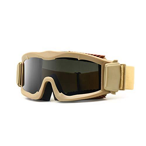Military Alpha Ballistic Schutzbrille Tactical Armee Sonnenbrille Softair CS Paintball Gläser 3 Lens Kit, Herren (Bräunen)