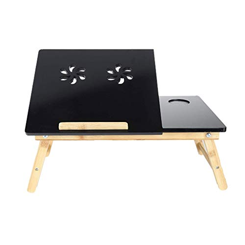 Black Lap Desk Stand with Drawer Cup Holder for Working Reading, Adjustable Laptop Bed Tray Table for Adult Kids 0919